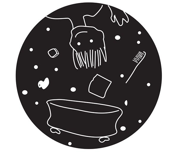 drawing of person and bathtub floating in space